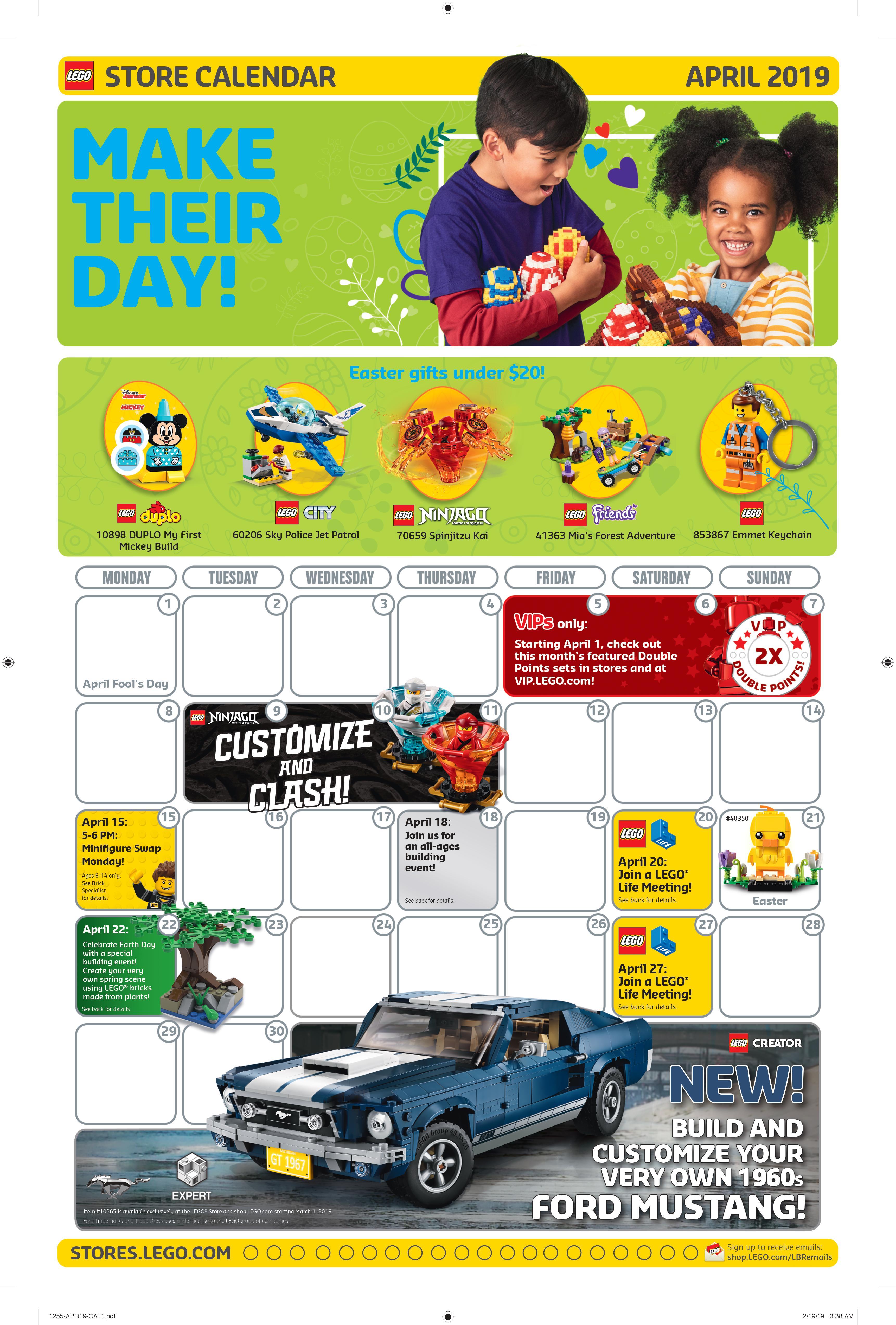 Lego April 2022 Calendar.Lego April 2019 Store Calendar Promotions Events The Brick Fan