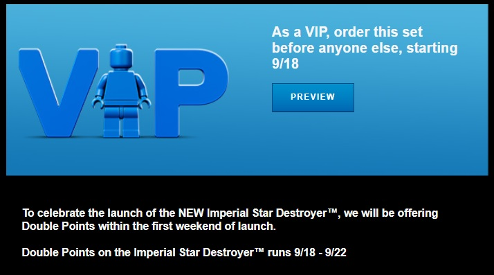 LEGO Star Wars UCS Imperial Star Destroyer Double VIP