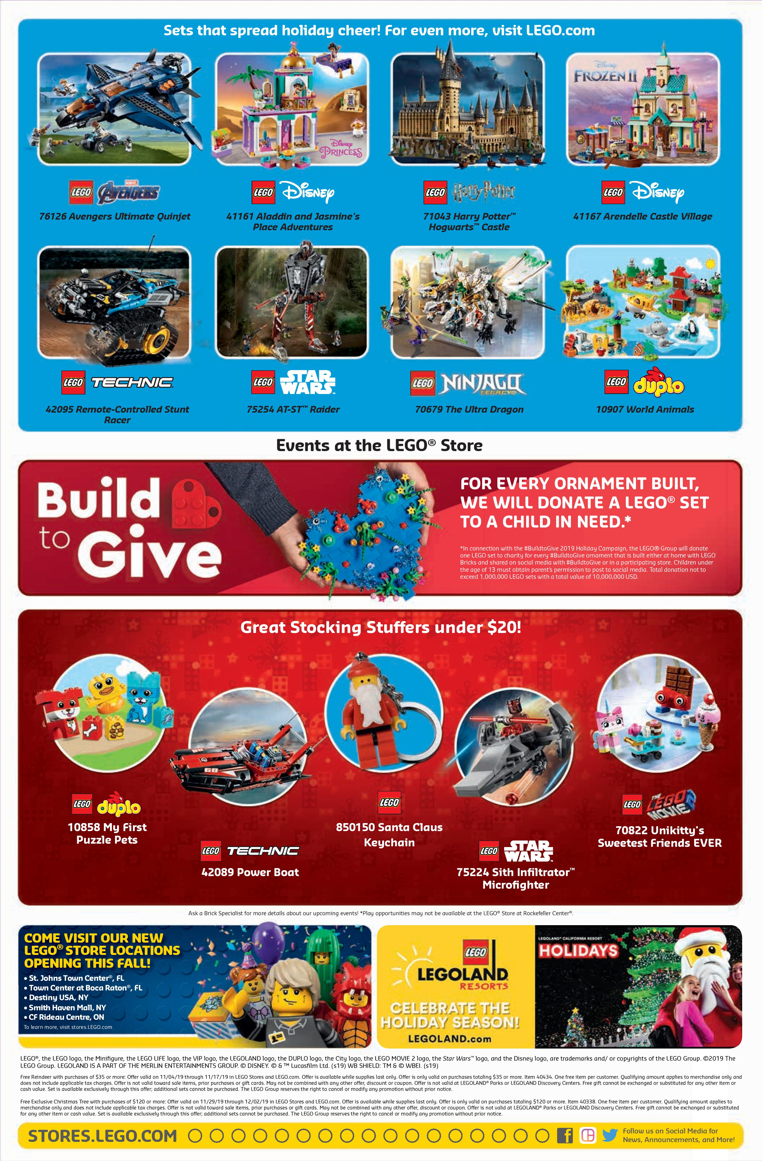 LEGO November 2019 Store Calendar Promotions & Events - The